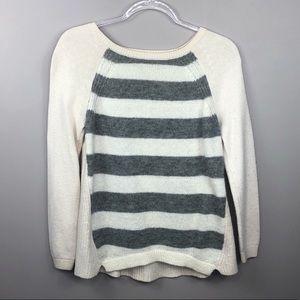 Ann Taylor LOFT Gray & White Striped Knit Sweater